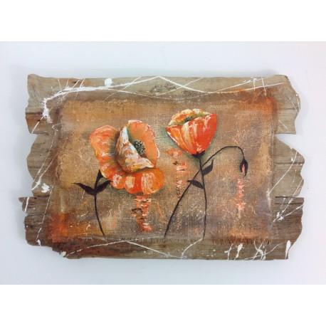 Tableau en bois flott coquelicot t thys art for Peinture bois flotte